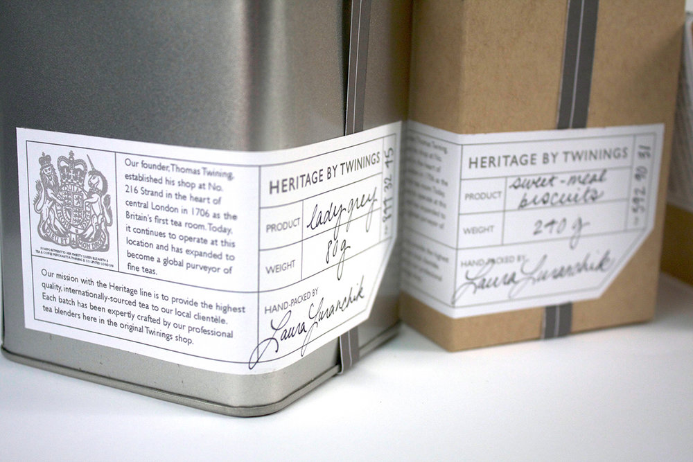 Packaging Design - The most prominent feature of the packaging is the label that is filled out by hand and affixed to each piece individually by the shop.