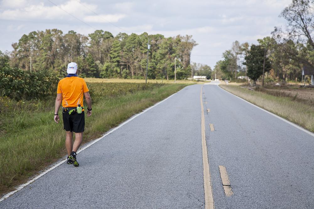 John Sisler as he crossed his 100 mile make, making a new personal best.