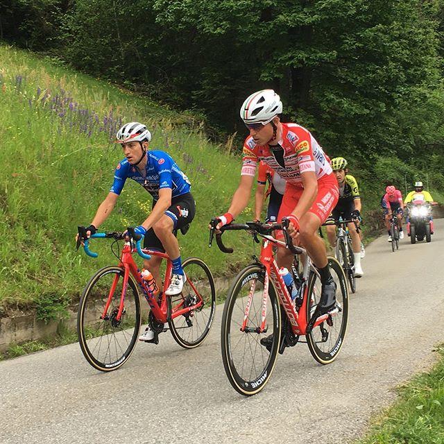 #mortirolo #giroditalia 3km into a brutal 12km climb @vincenzonibali  looking strong. AG2R look like #teamstrugglebus