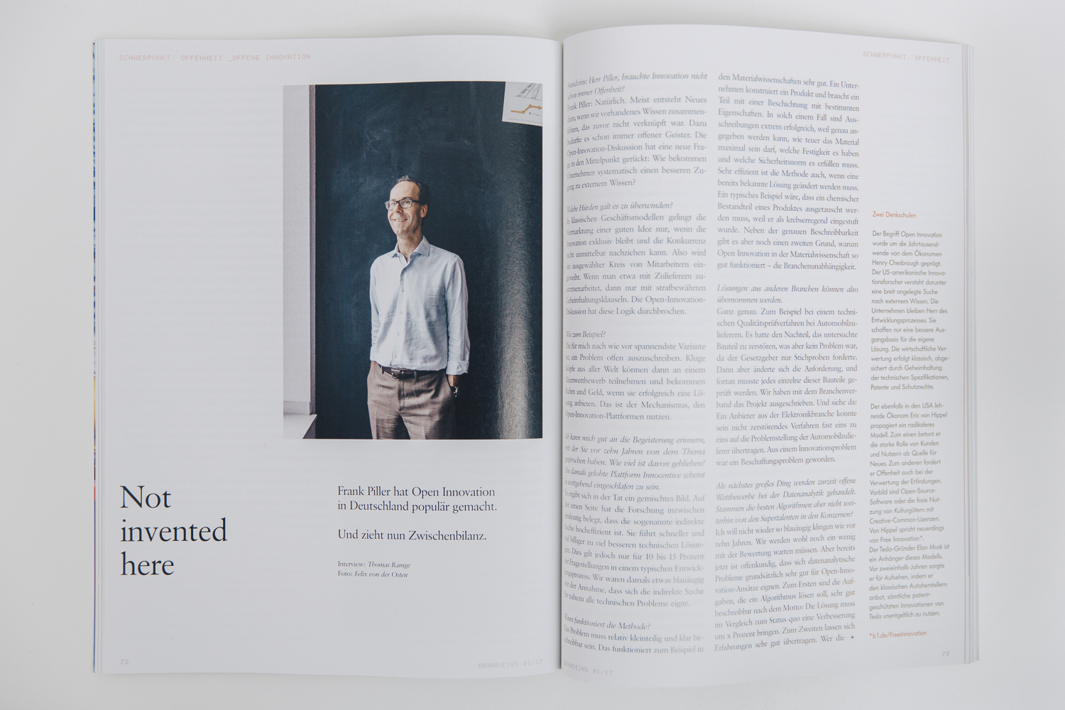 My portrait of Prof. Piller at the RWTH Aachen in the first issue of Brandeins in 2017, where he talks about »Open Innovation« in Germany.