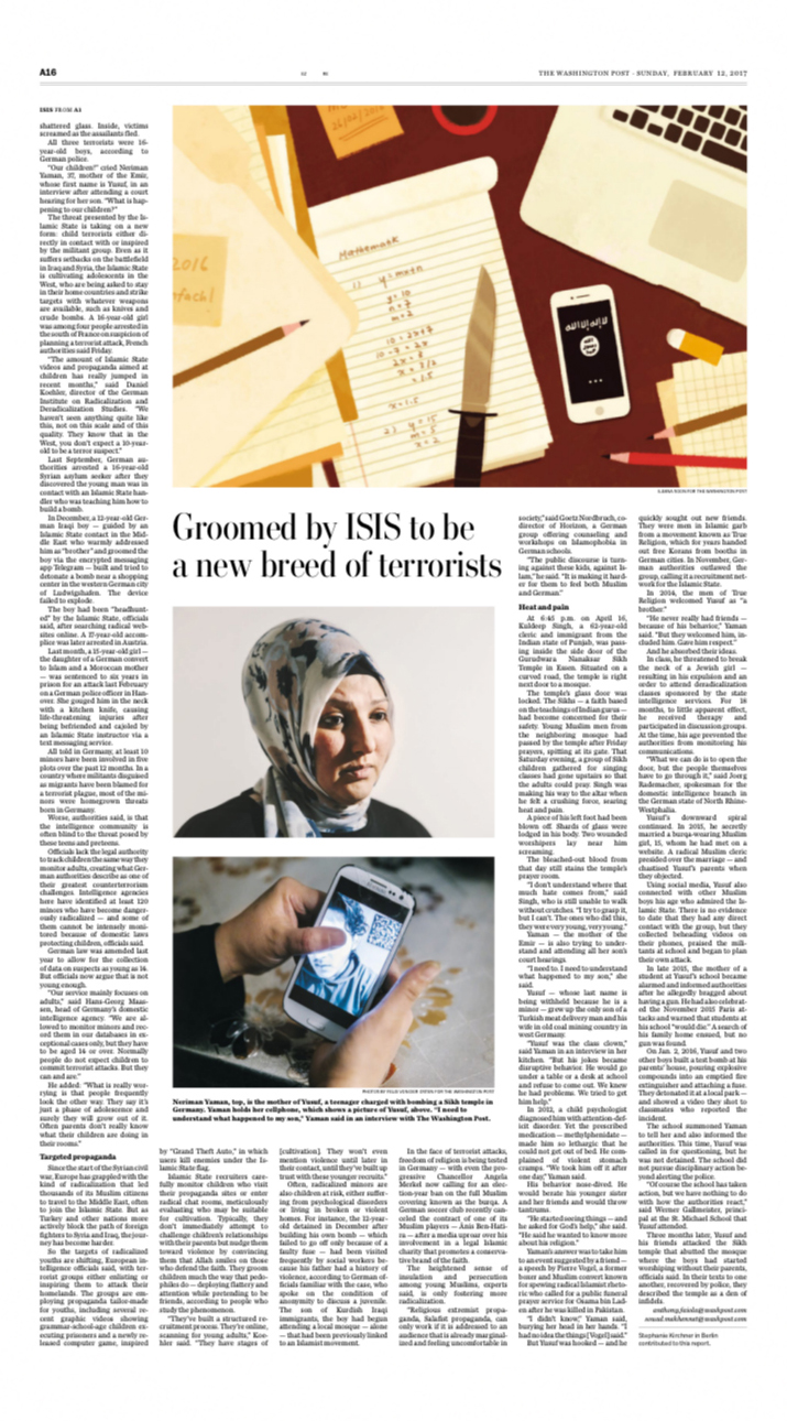 Tearsheet of the Washington Post Sunday Issue from the 12th February 2017.