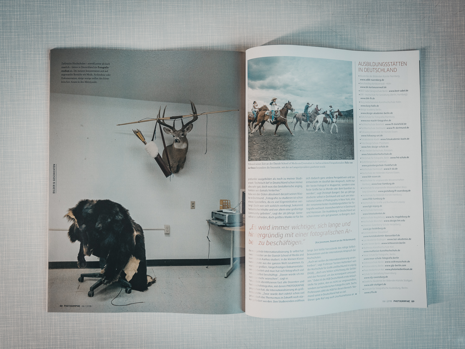 Two photographes of my series »The Buffalo that could not dream« accompanies the article about studying photography.