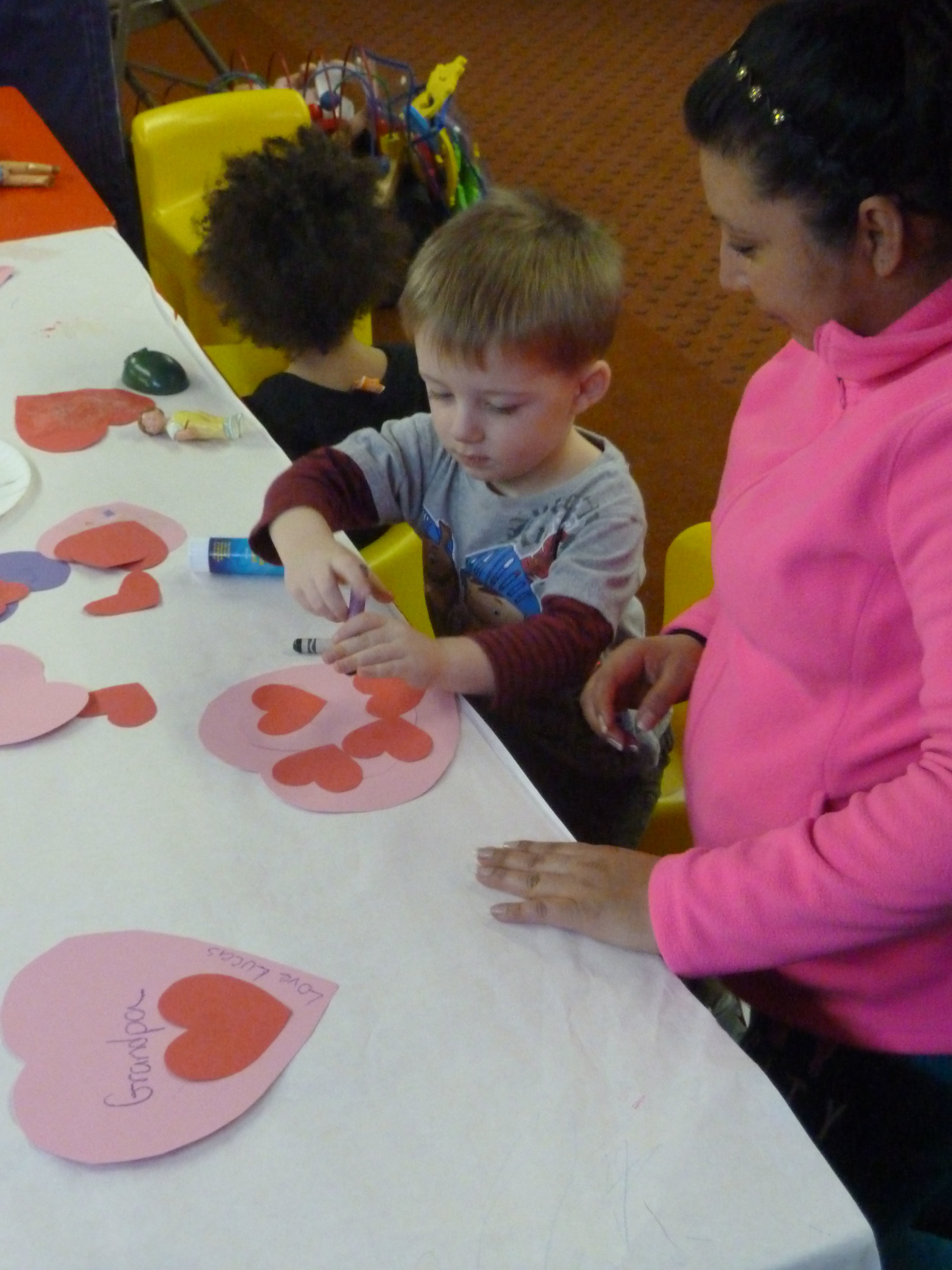 Cut, paste, and color at our craft table.
