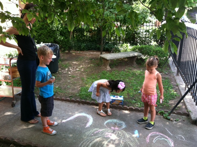 jack, scarlet and grace with chalk.JPG