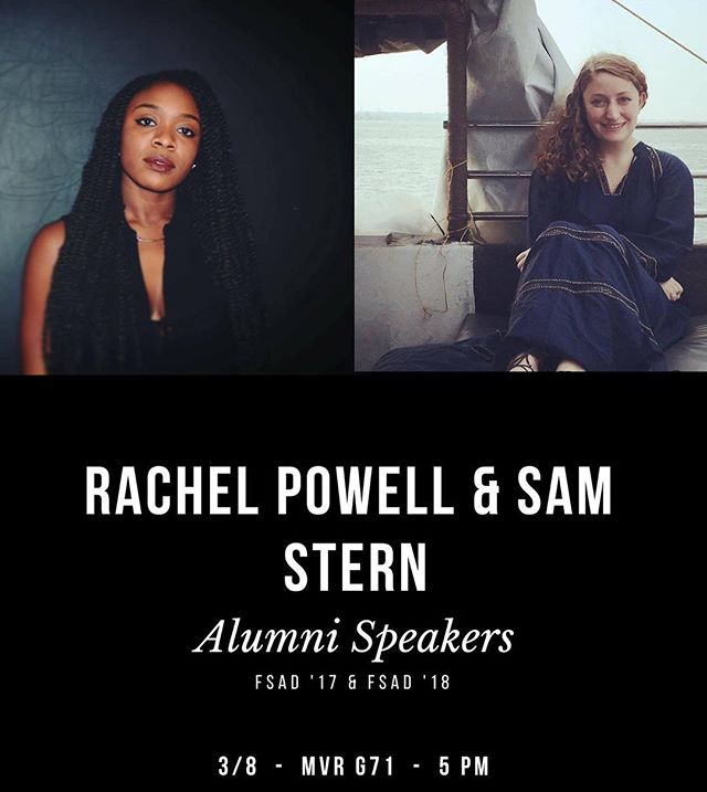 DON'T MISS TODAY'S FASHION WEEK EVENT! 🖤 Rachel & Sam are back as alumni to share their experiences in the industry! Hope to see you there— TODAY (3/8), MVR G71 @ 5PM 💫