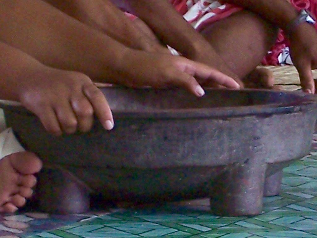 The kava bowl - The Tufutafoe village kava bowl was much simpler than the fancy kava bowls which are sold to tourists at the market in Apia, Samoa.