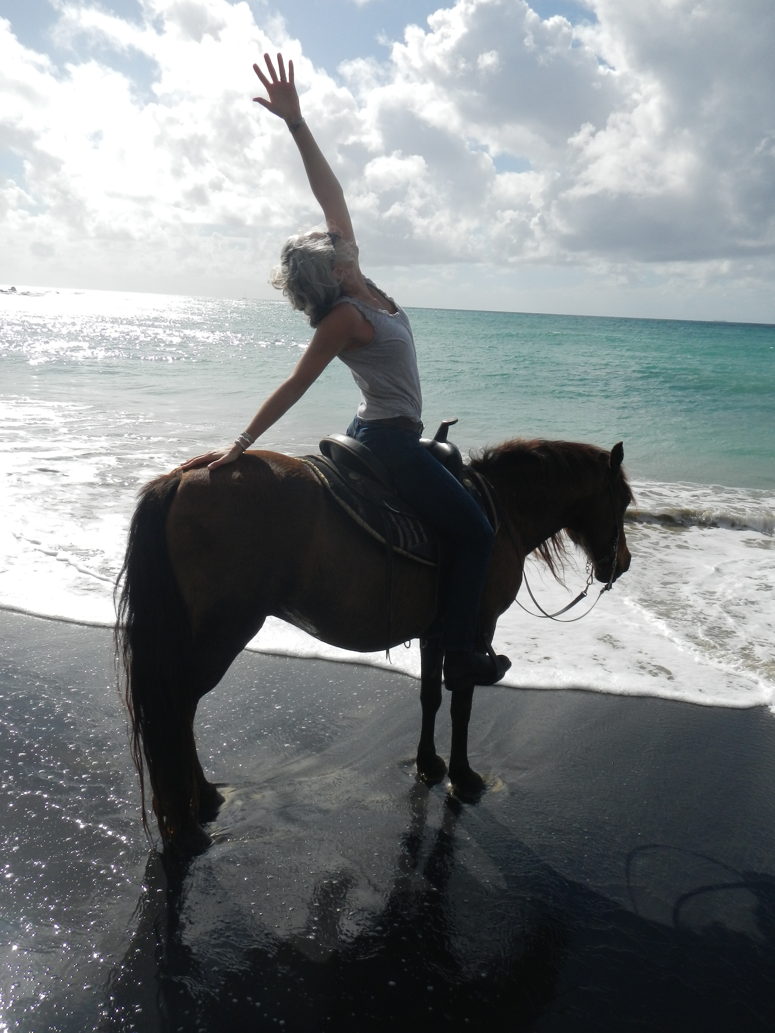 Monica and Tornado, paso fino, black sand beach, vieques PR-It doesn't matter where you are, be where you are