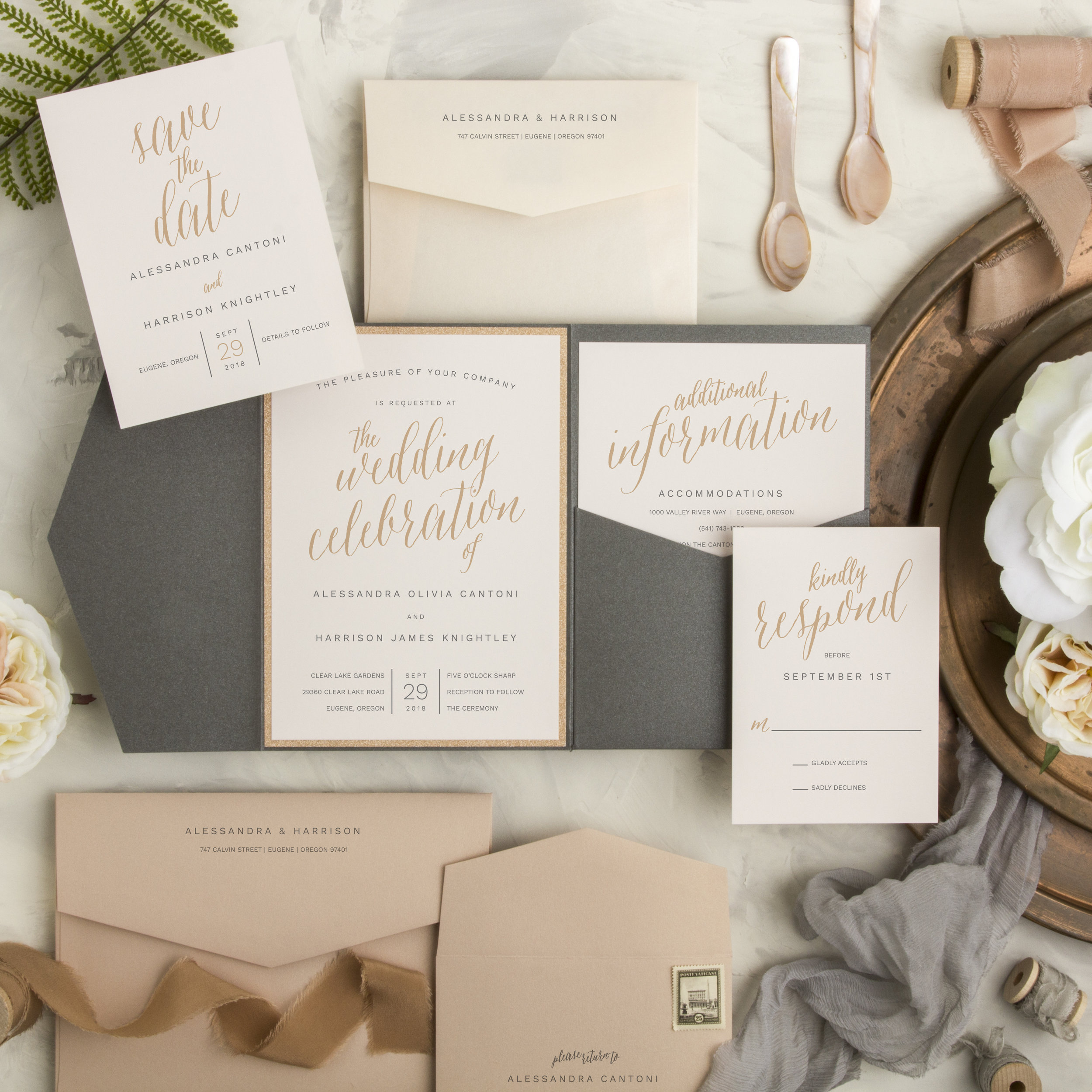 This modern, neutral color palette and script detail makes this wedding suite shine!
