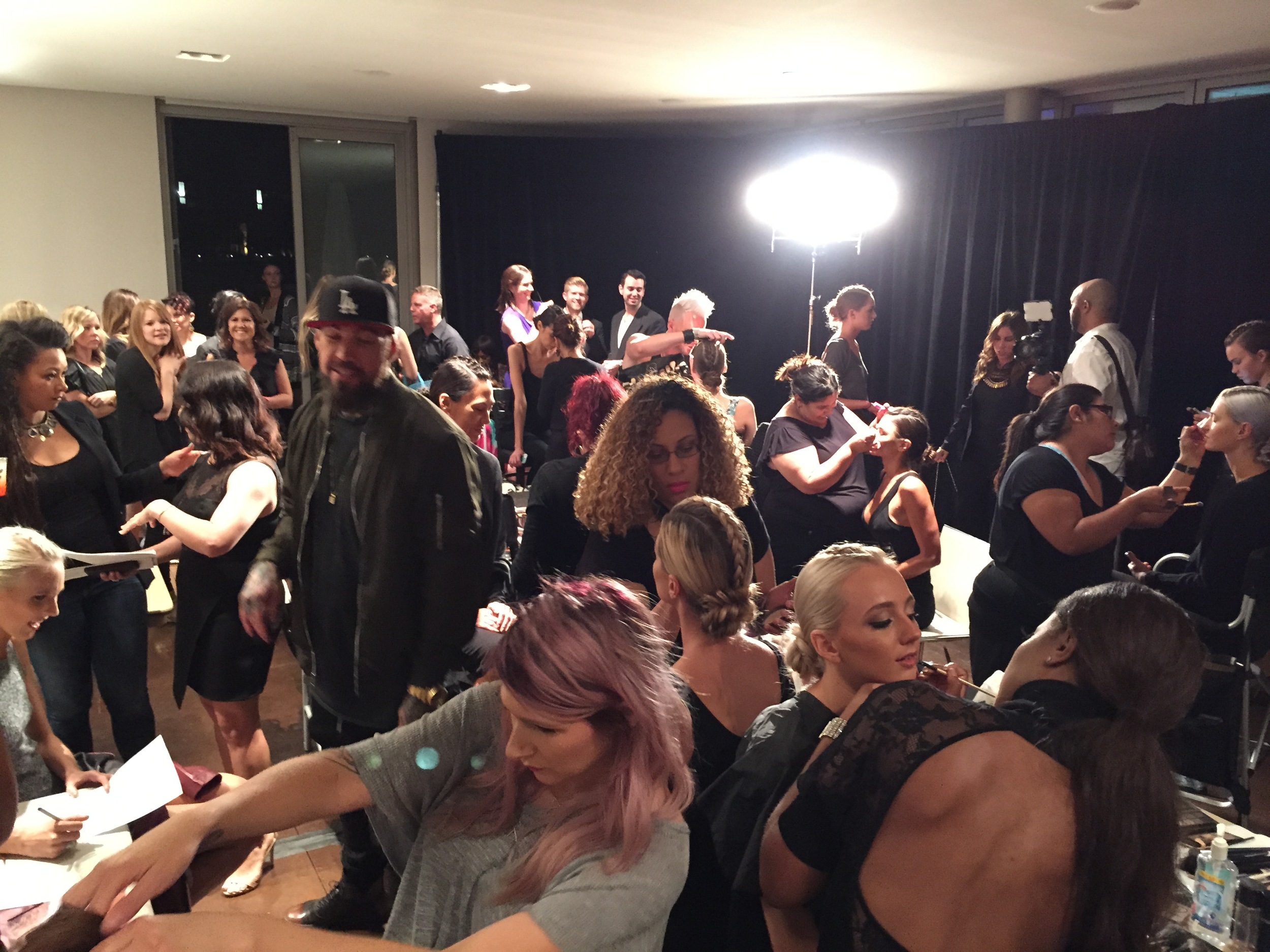 Jenny Strebe and the Bespoke Salon team working their magic backstage at Splash into Summer, W Scottsdale.
