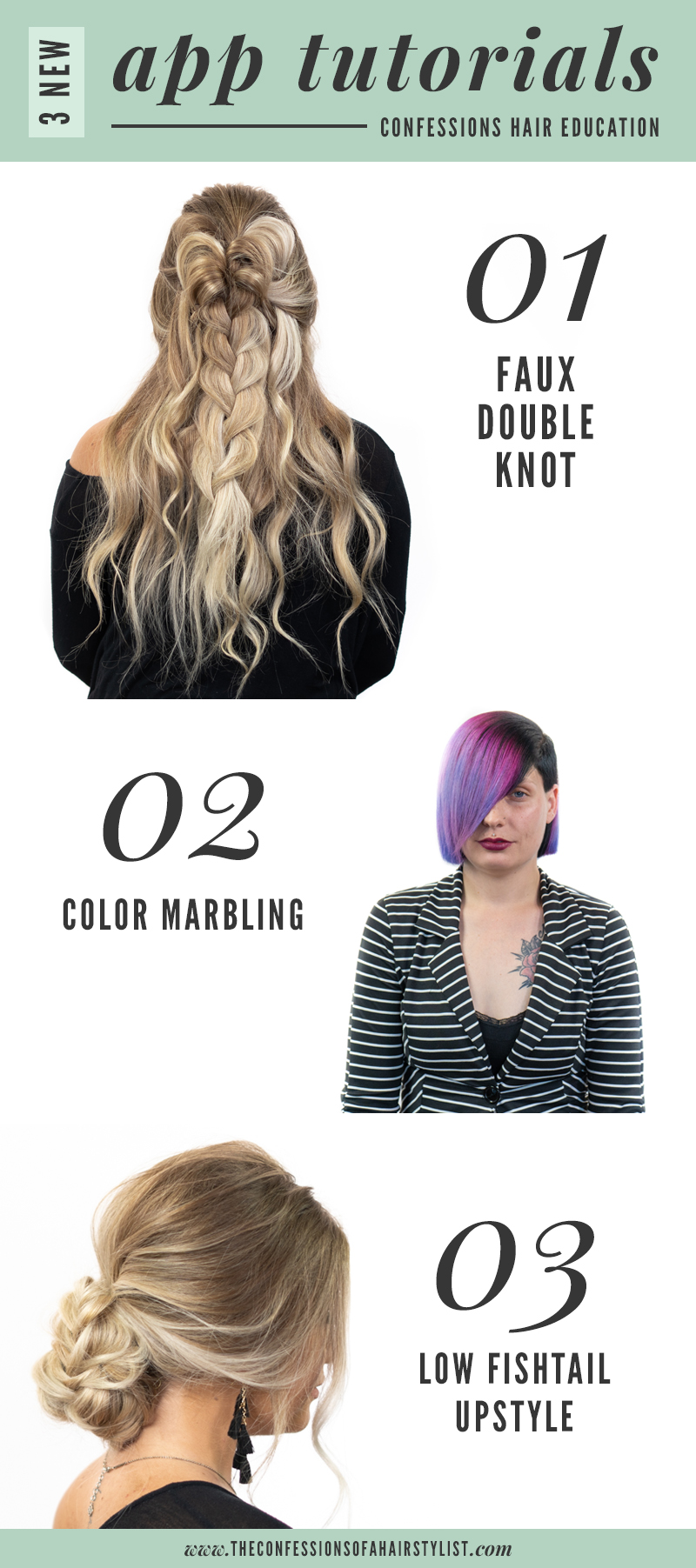 New August tutorials + looks on the Confessions of a Hairstylist education app!
