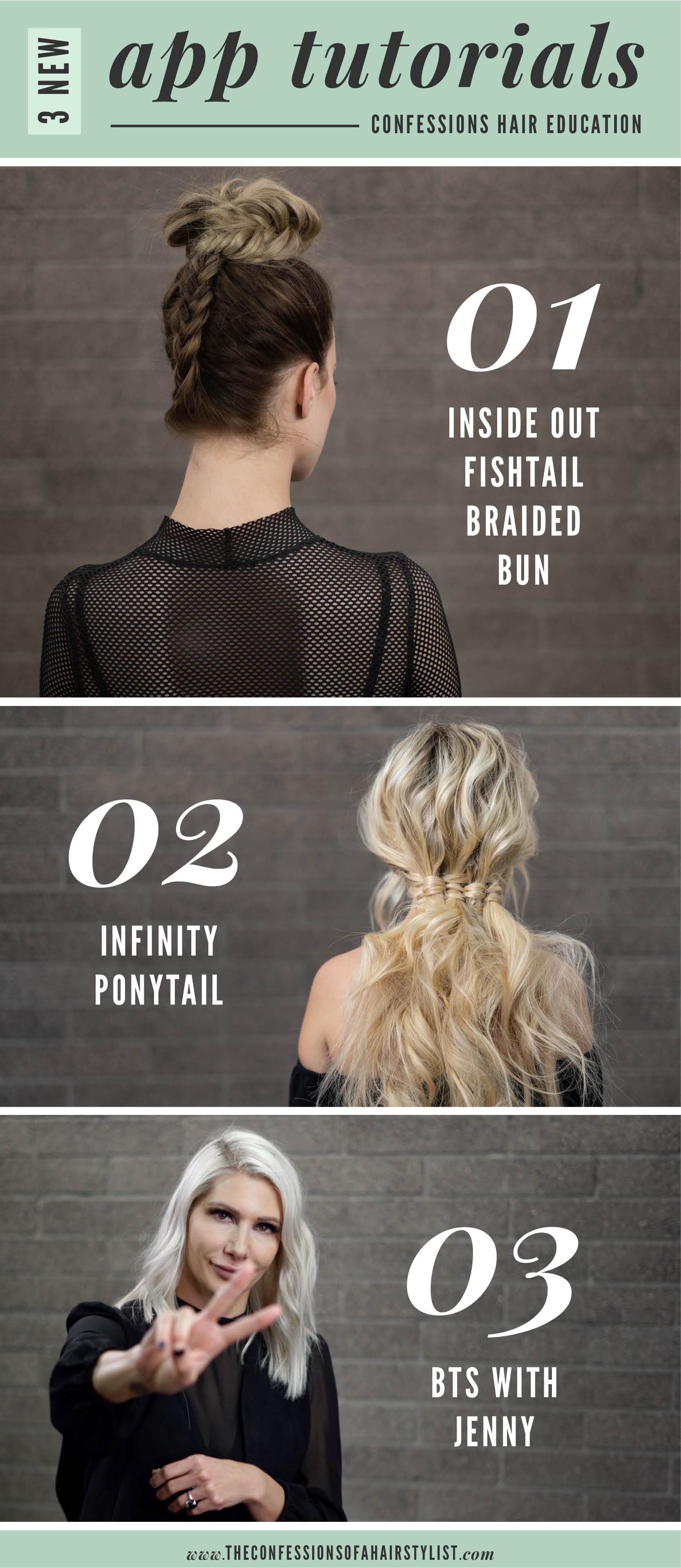 braided fishtail bun and infinity ponytail