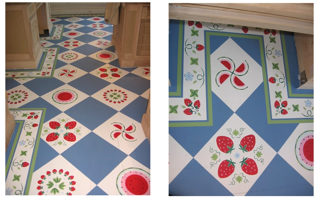 Stenciled Kitchen Floor