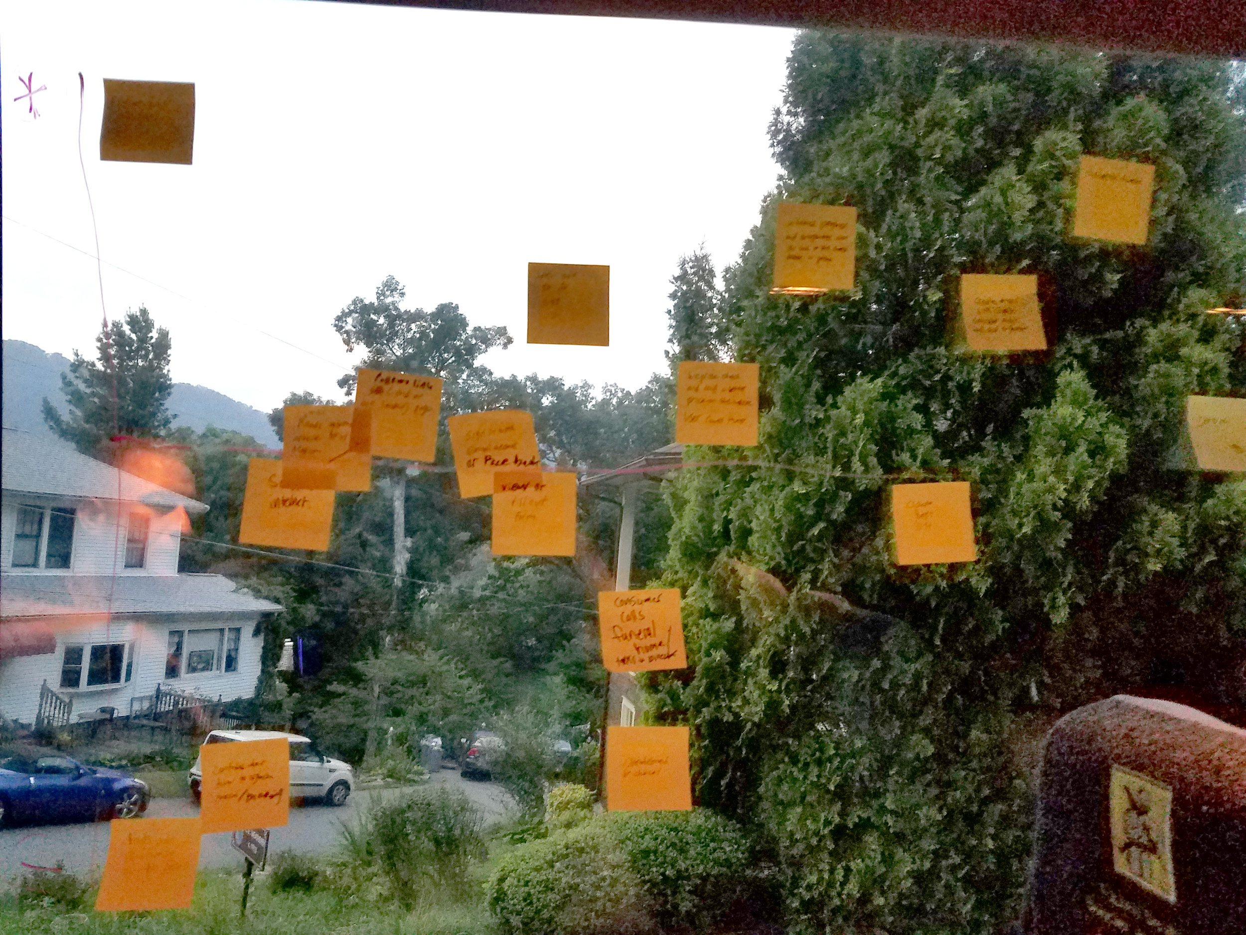 We started building our experience map with stickynotes on the bus window