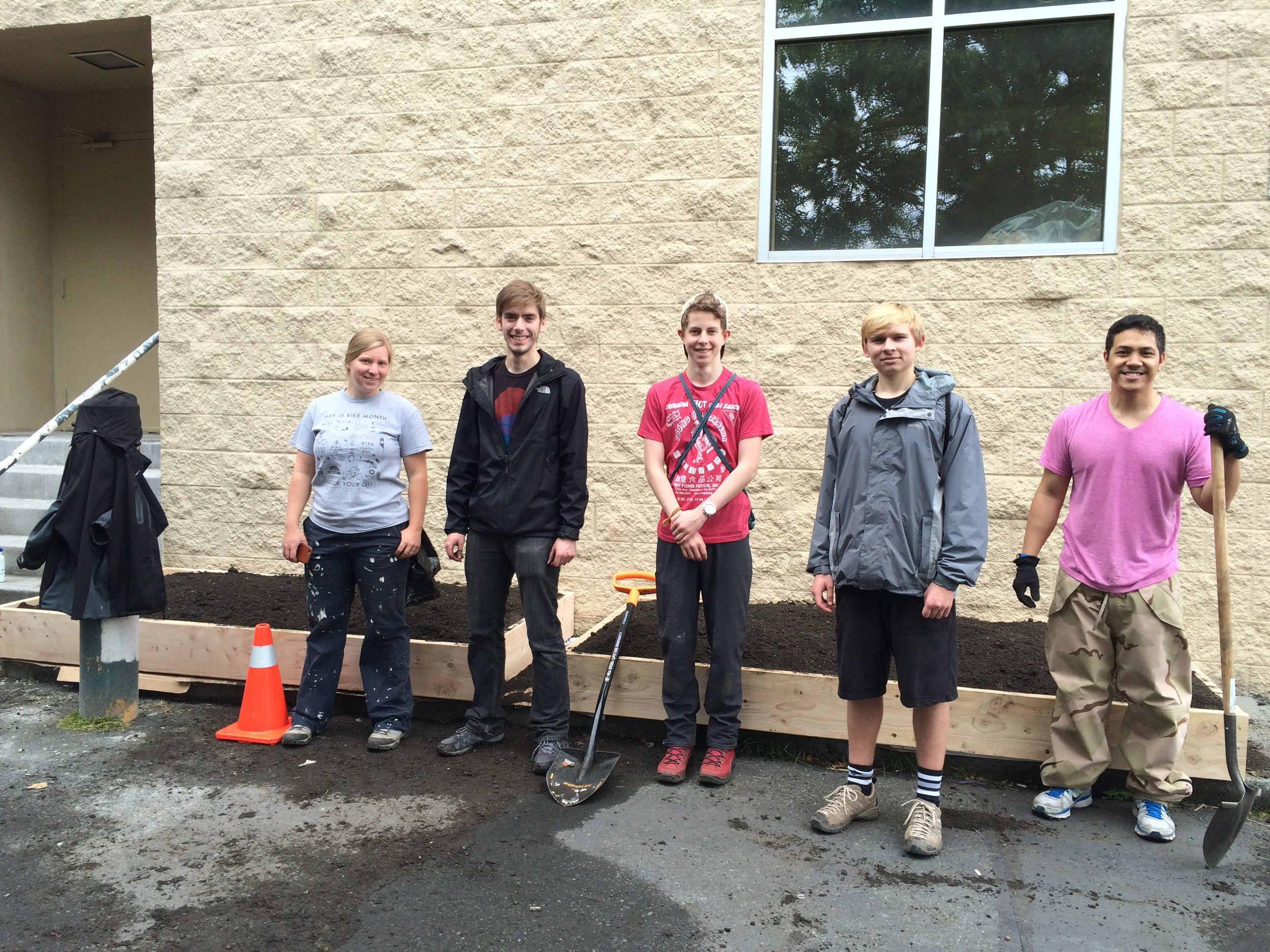 New raised planters ready to be planted thanks to great volunteers and Fiskars tools!