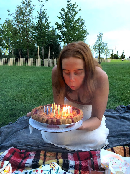 We surprised Kate - Andrew, Ella, and I got to surprise Kate with a picnic in Brooklyn Bridge Park for her birthday. Much cheese was tasted, orange and pink wines were consumed, and the best cherry pie ever was devoured as the sun went down.