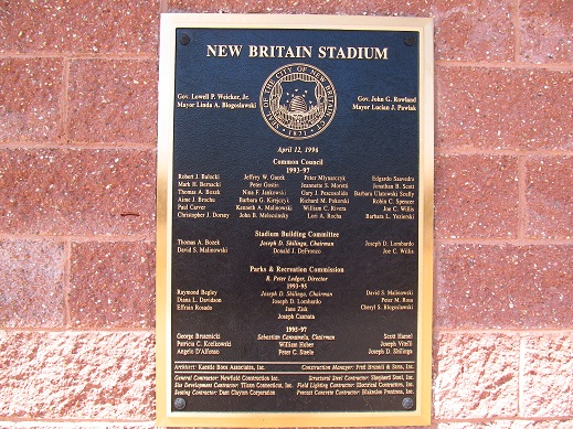 New Britain Stadium Plaque