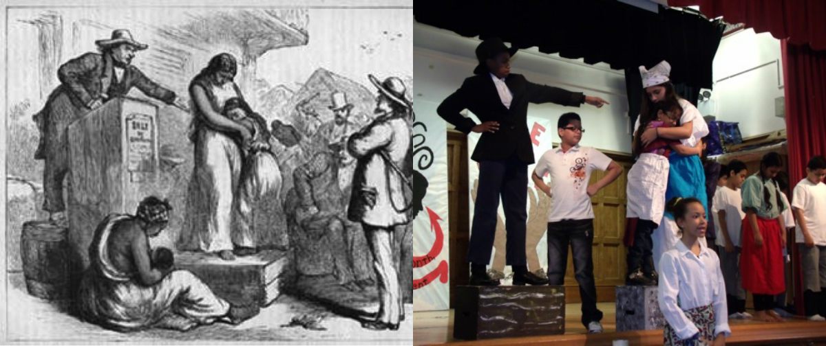 Students created tableaus based on images from Civil Rights history.