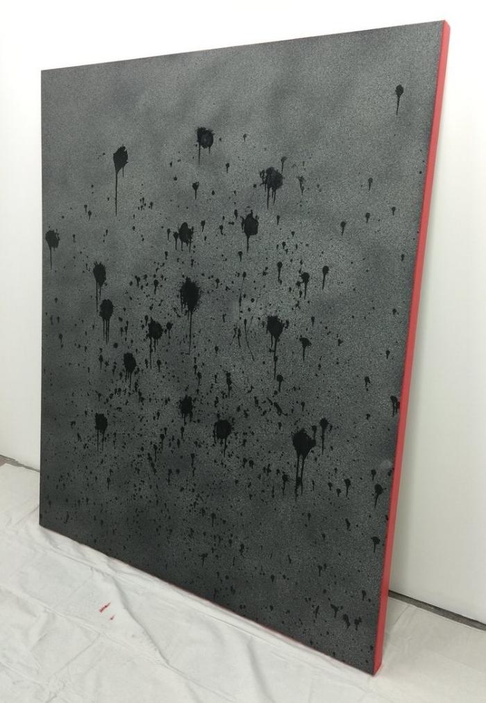 """16 Shots"" - acrylic and spray paint on canvas, 60'x72"""