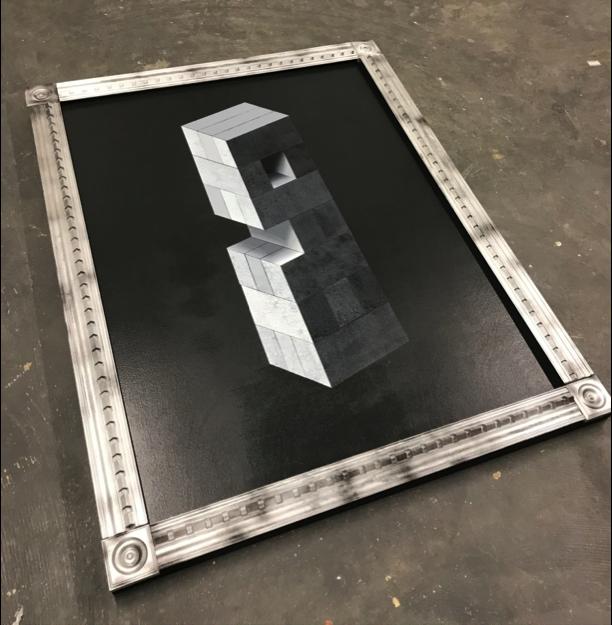 """48""""x60""""- acrylic and enamel on wood panel"""