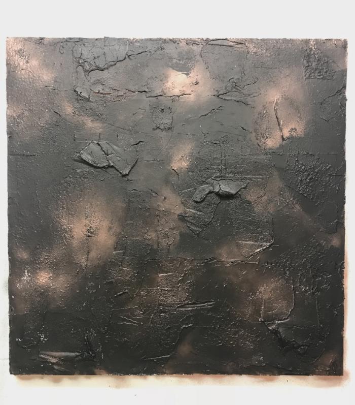 "48""x48""- plaster, stucco, acrylic and aerosol on wood panel"