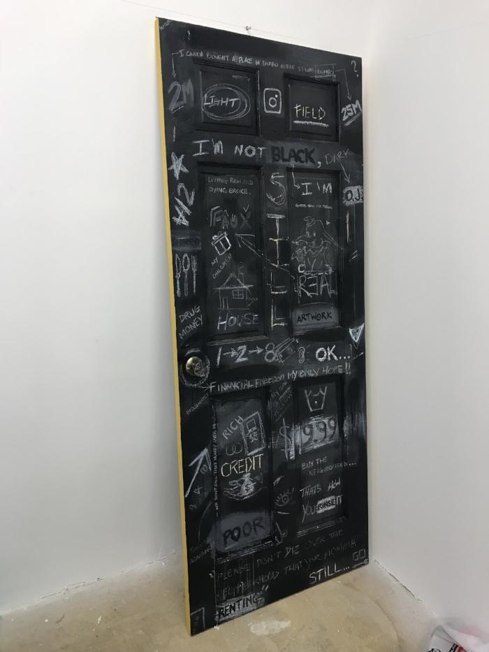 "28""x80""- acrylic, ink, aerosol, crayon on wooden door"
