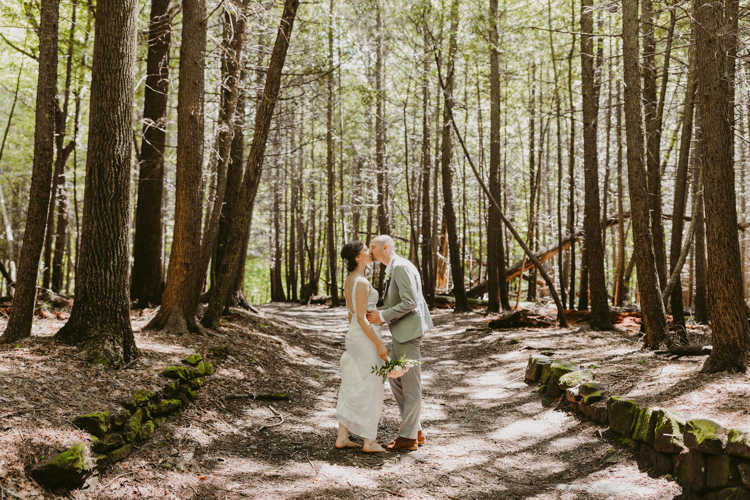 Matt + Katie on trail in Cuyahoga Valley National Park, where their wedding was held.