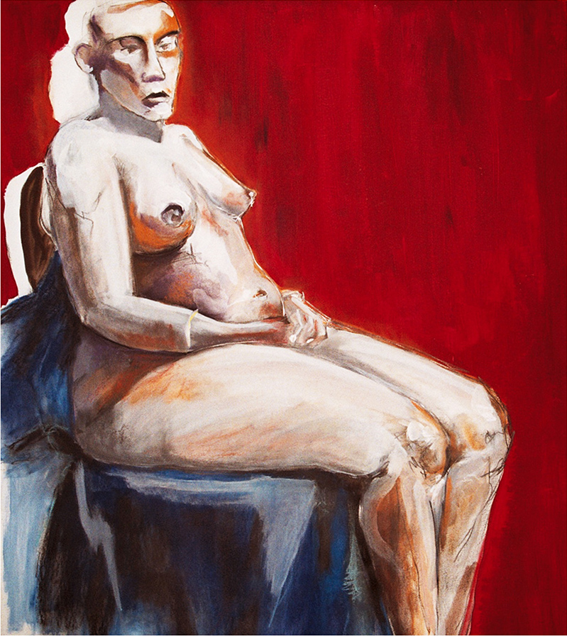 Seated Nude - Red