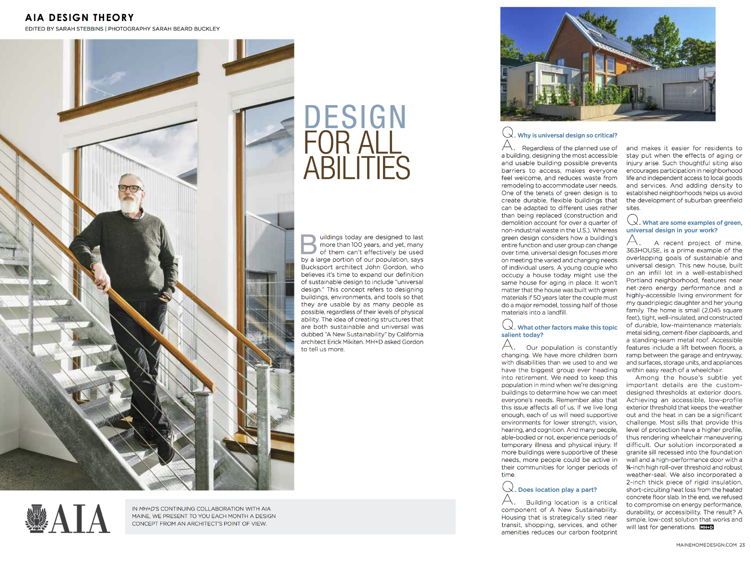 Feature article in May 2016 issue of Maine Home + Design (click on image for larger view).