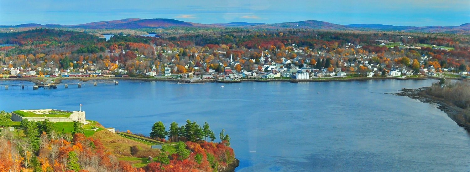 Bucksport from Penobscot Narrows Bridge Observatory.
