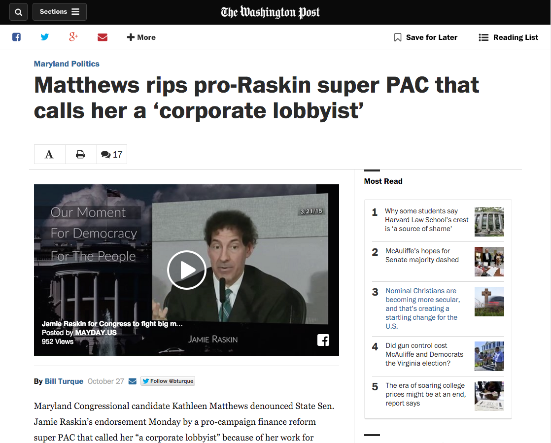 Advocacy video for the MAYDAY Super PAC makes the Washington Post.