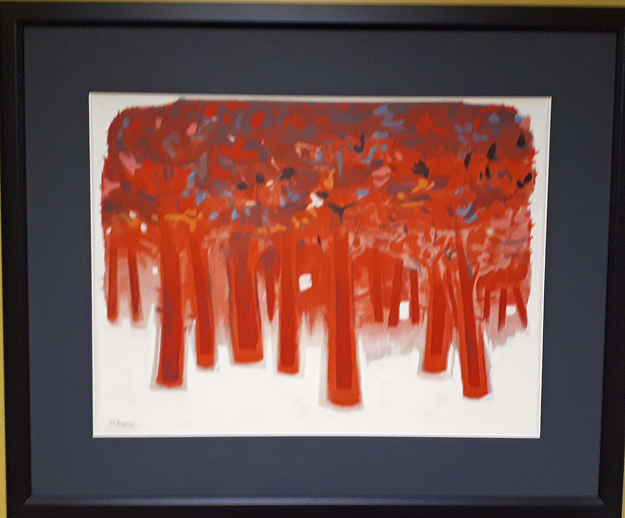 "Joseph Prezament, Canada, Serigraph, ""Red Trees"", Size: 30 x 37, Price: 395.00"