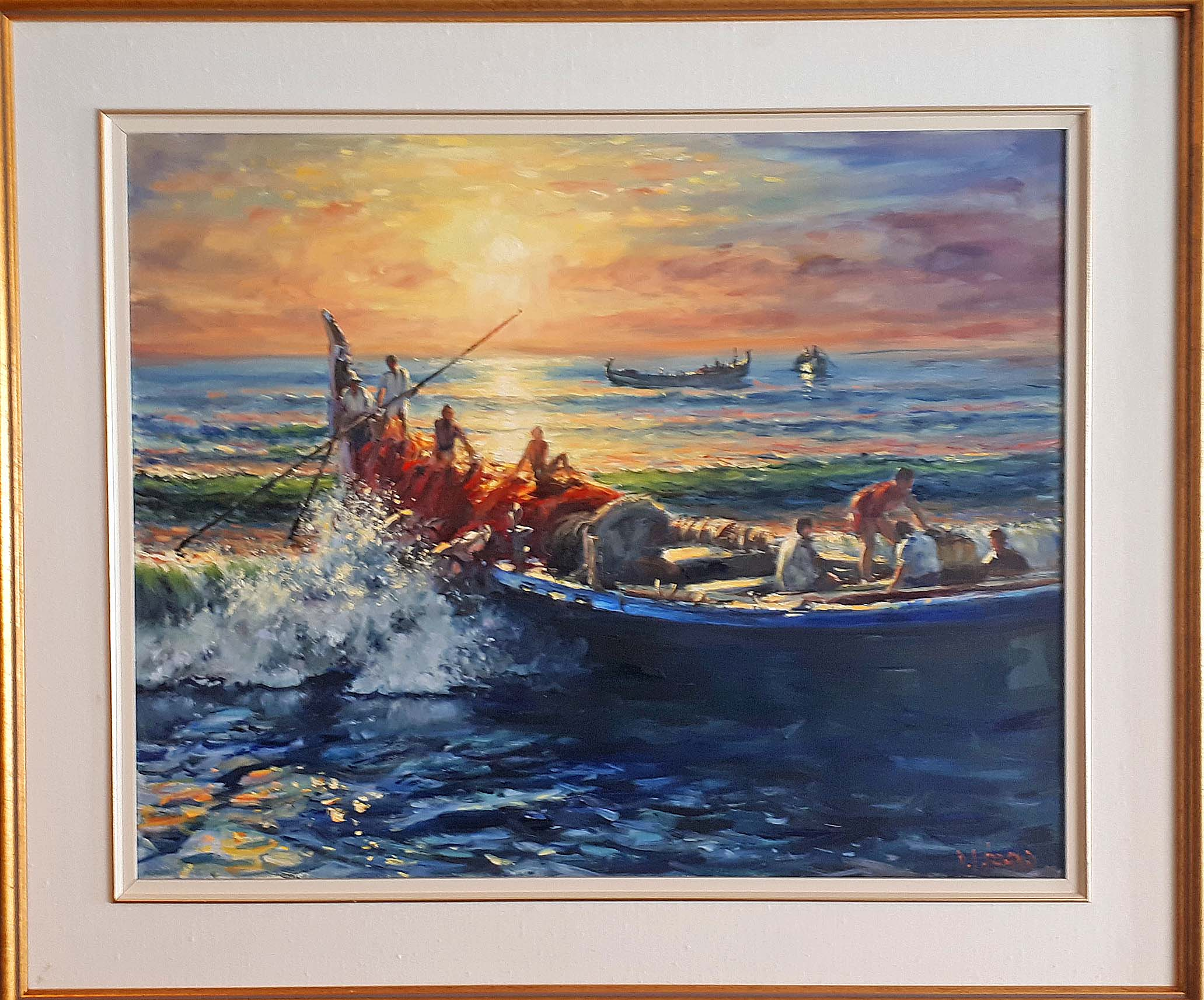 "Daniel Izzard, Canadian, Oil on Canvas, ""Bringing in the Catch"", 2001, Est. Value: 6,000, Price: 1,350"