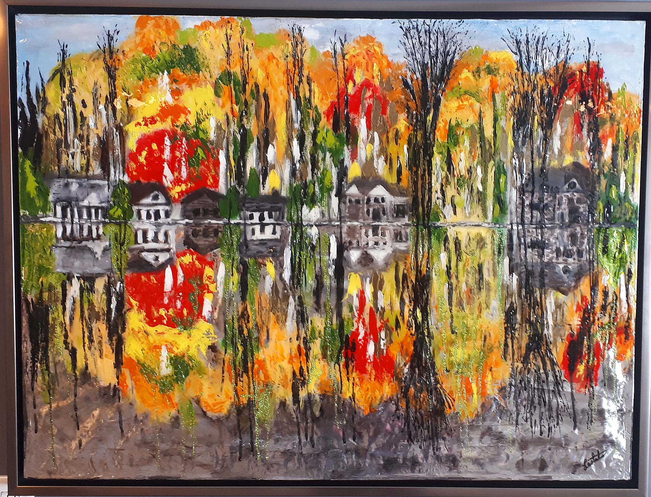 Nathalie Lesbats (Quebec) Acrylic on Foil, Size: 42 x 32, Price: 650.00