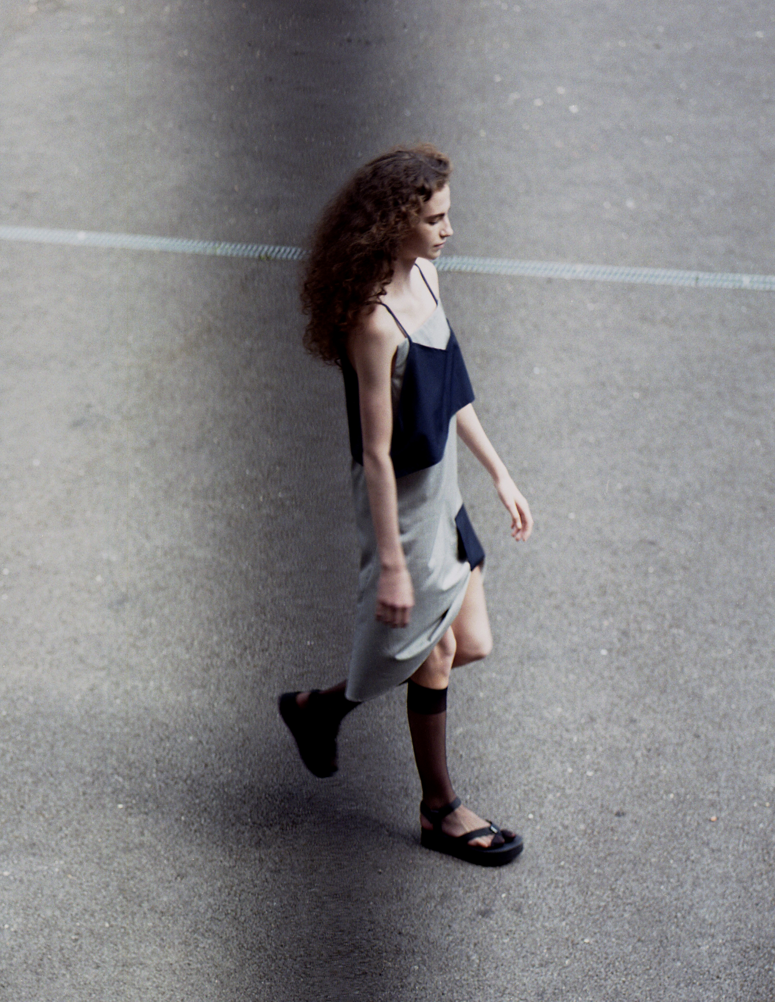 Isabella Wears Eyelet Dress by Jacquemus, Socks by Falke, Flatform Shoes by Teva