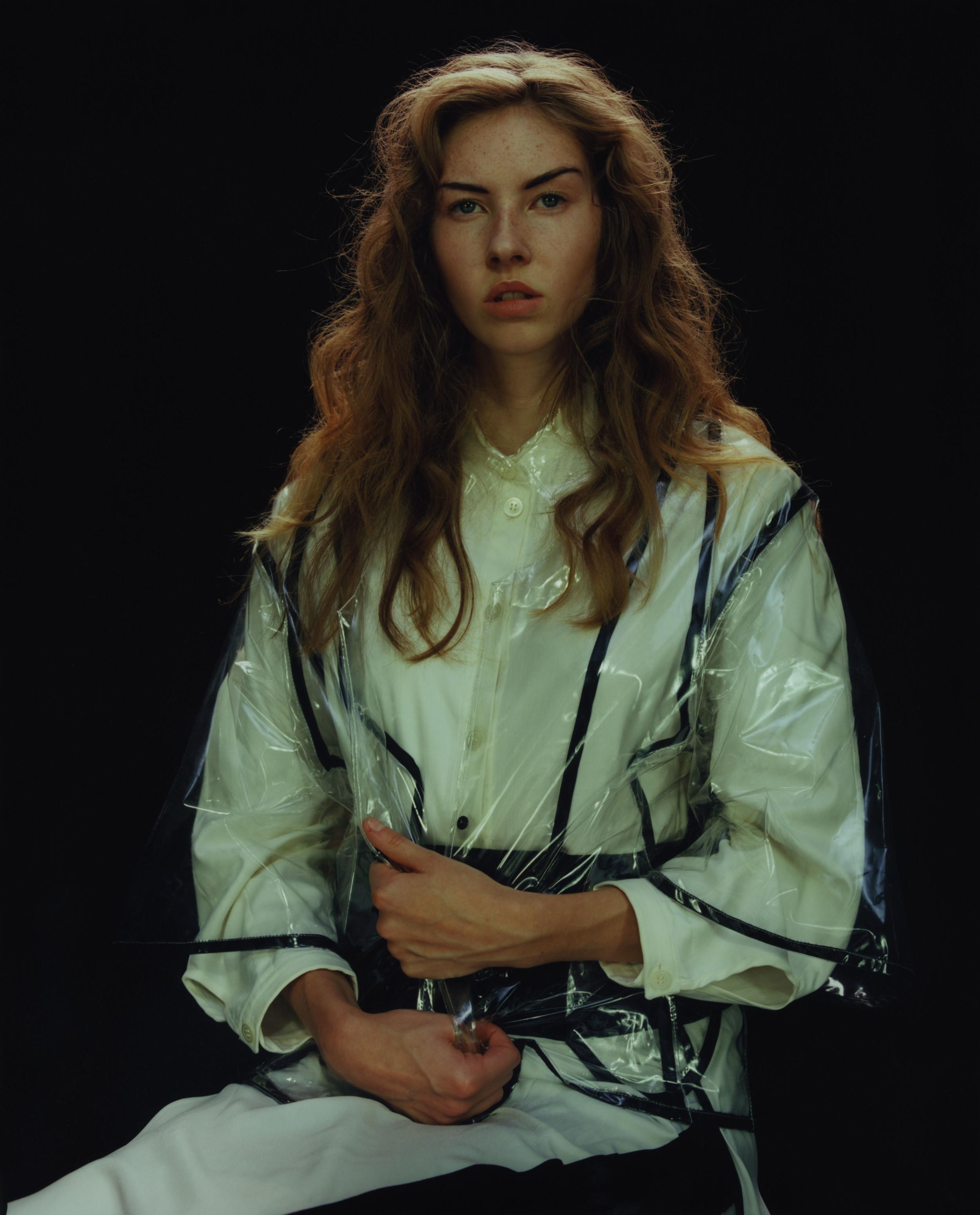Shirt and Plastic Mac by Simon Ekrelius, Skirt by Palmer//Harding