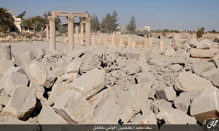 A photo purporting to show the aftermath of the destruction of Baal Shamin. Photo by ISIS/Homs region.