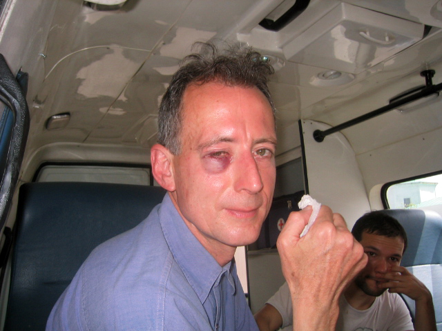 Moscow Pride 2007 - Tatchell - Police van with bloodied eye