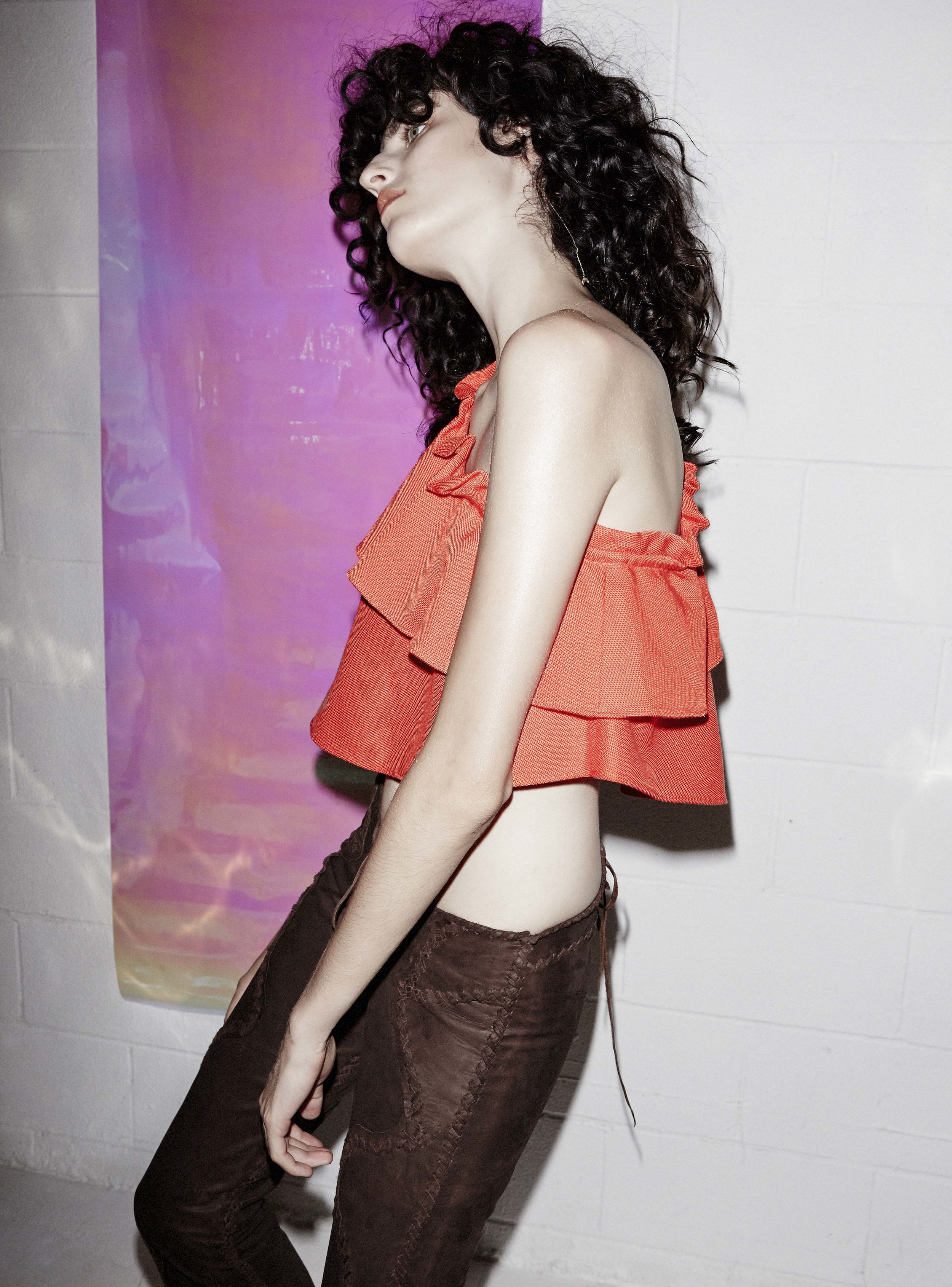 Ruffle Top by Apeice Apart, Leather Pants by Lost Art, Earring and Rings by Lorae Russo