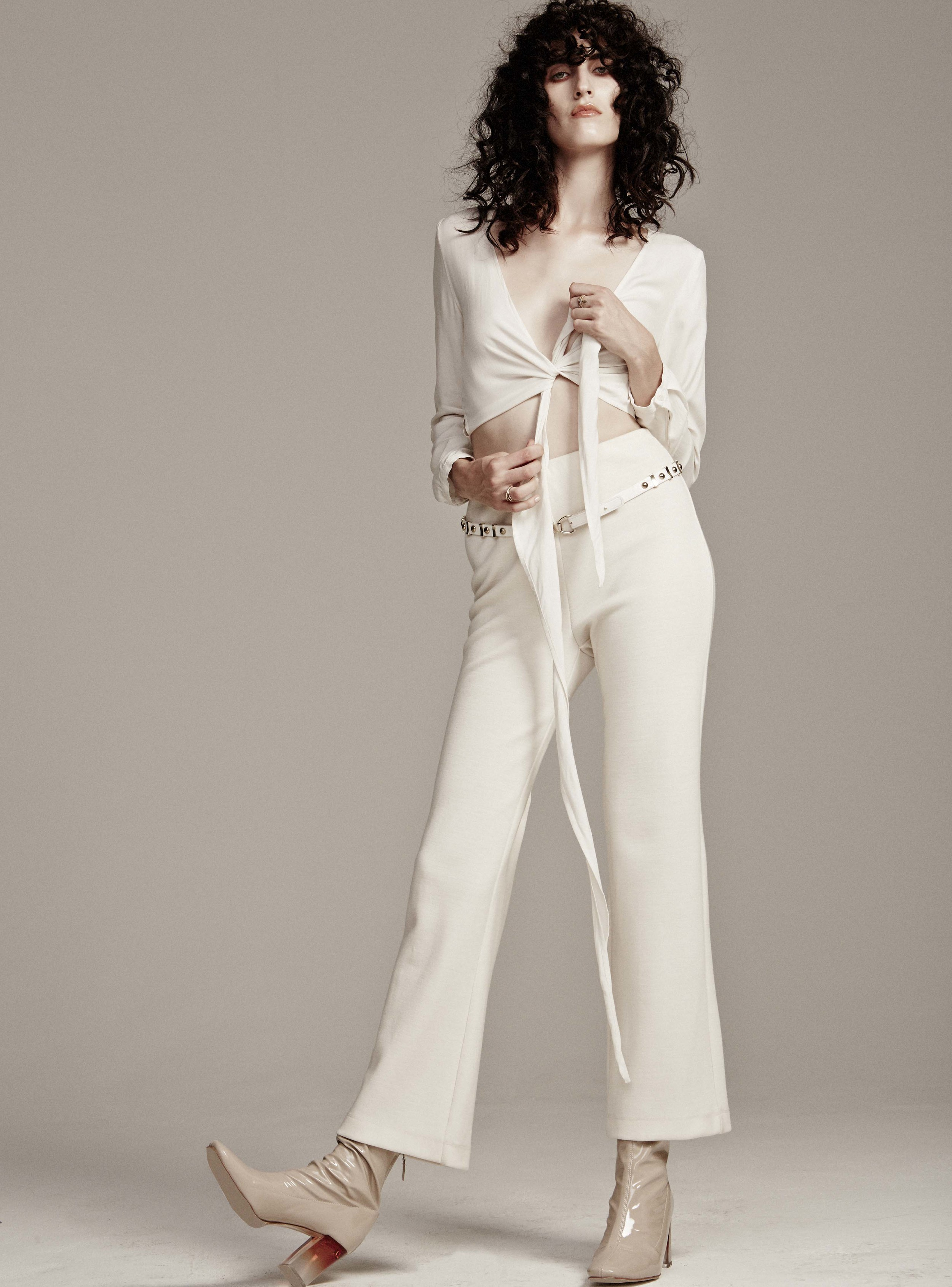 Blouse by Samiji, Trousers by  Maryam Nassir Zadeh,  Earring and Rings by Lorae Russo,  Stylist's own Boots