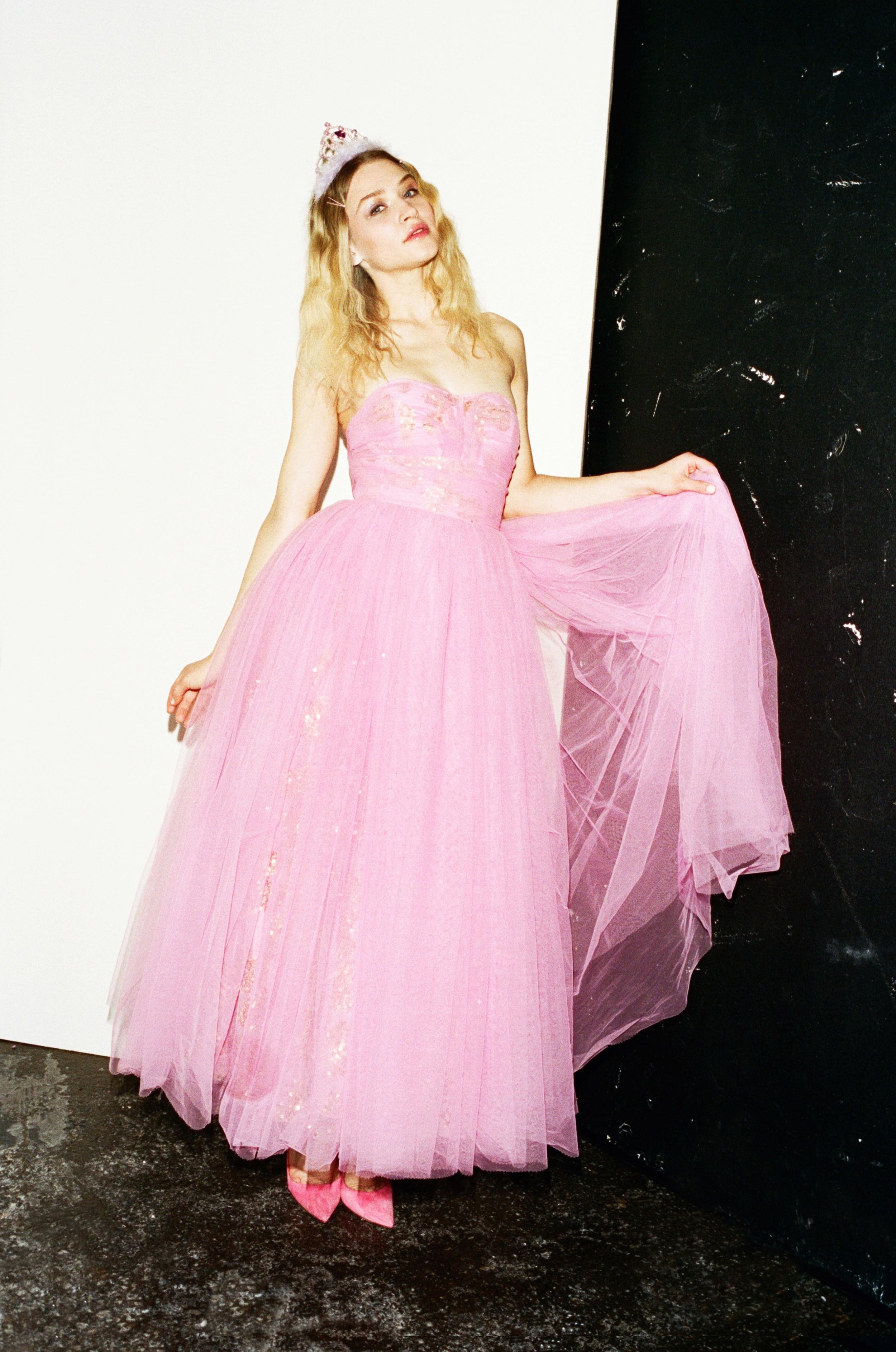 Ieva wears Pink Dress by Ashish, Pink Court Heels by Manolo Blahnik, Tiara - Stylist's Own