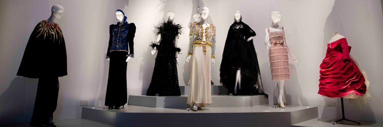 Haute couture including the 'Zephirine dress' (far right) designed by Yves Saint Laurent when working for Dior in 1958
