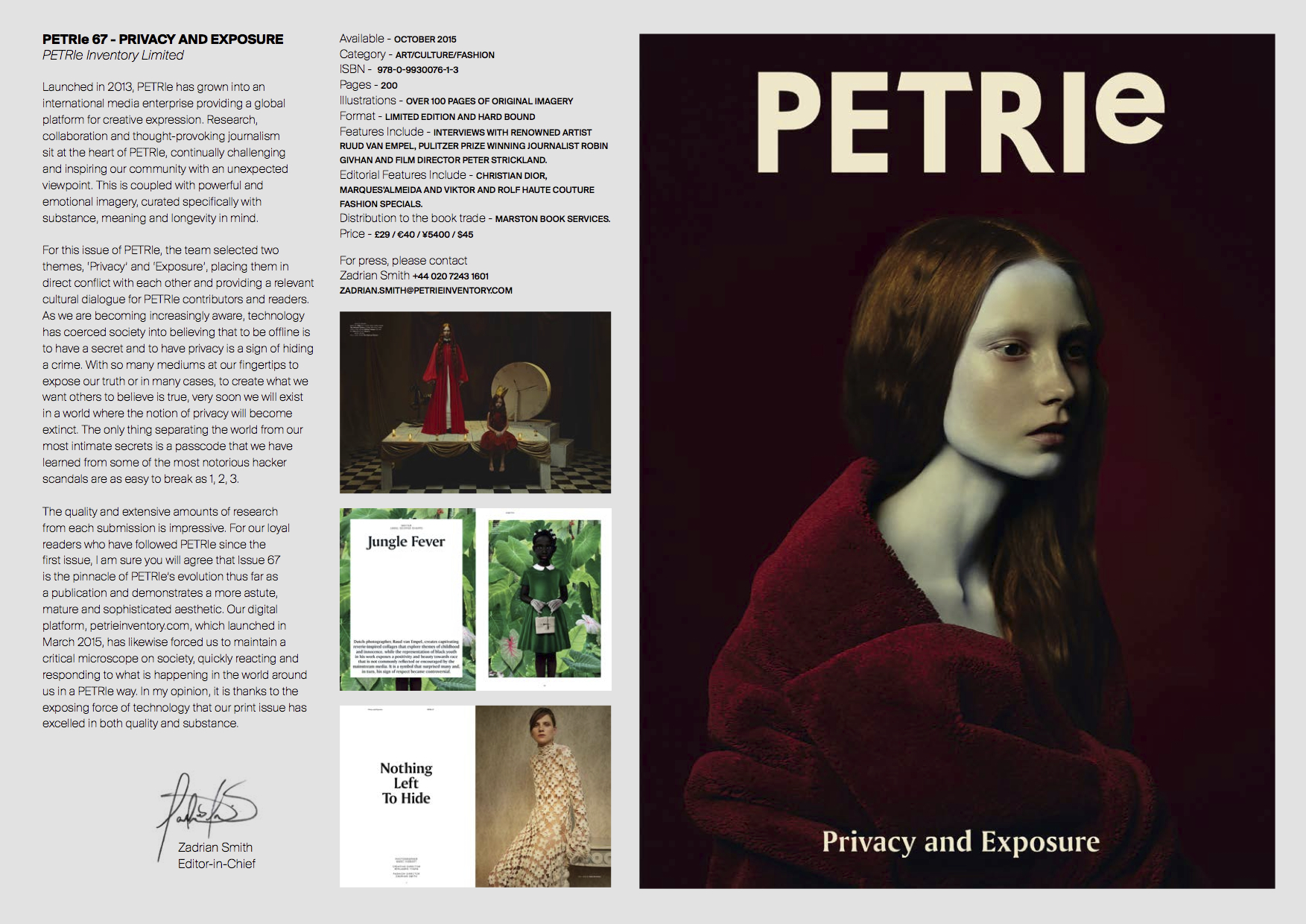 PETRIe 67  - 'Privacy and Exposure' Press release