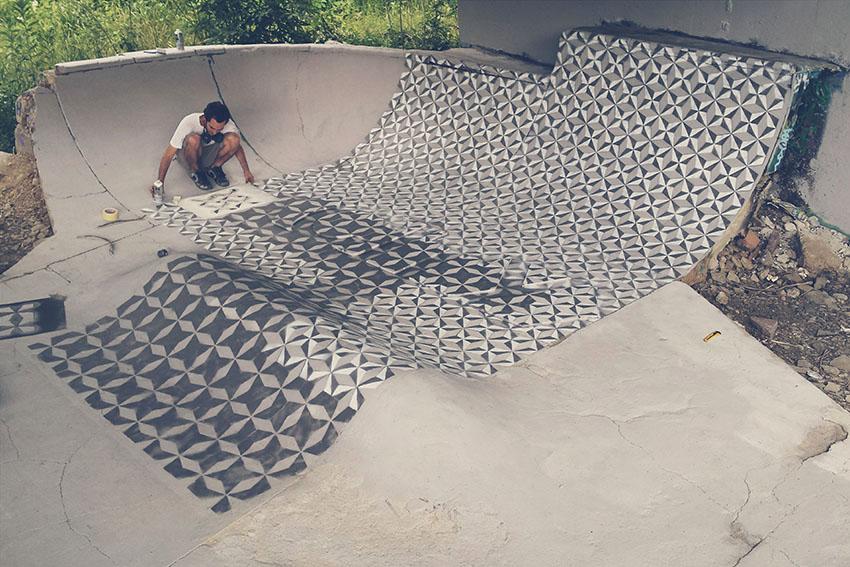Intervention on a hidden skate spot floor in   Hütteldorf  (  Vienna) with  Minuskula .