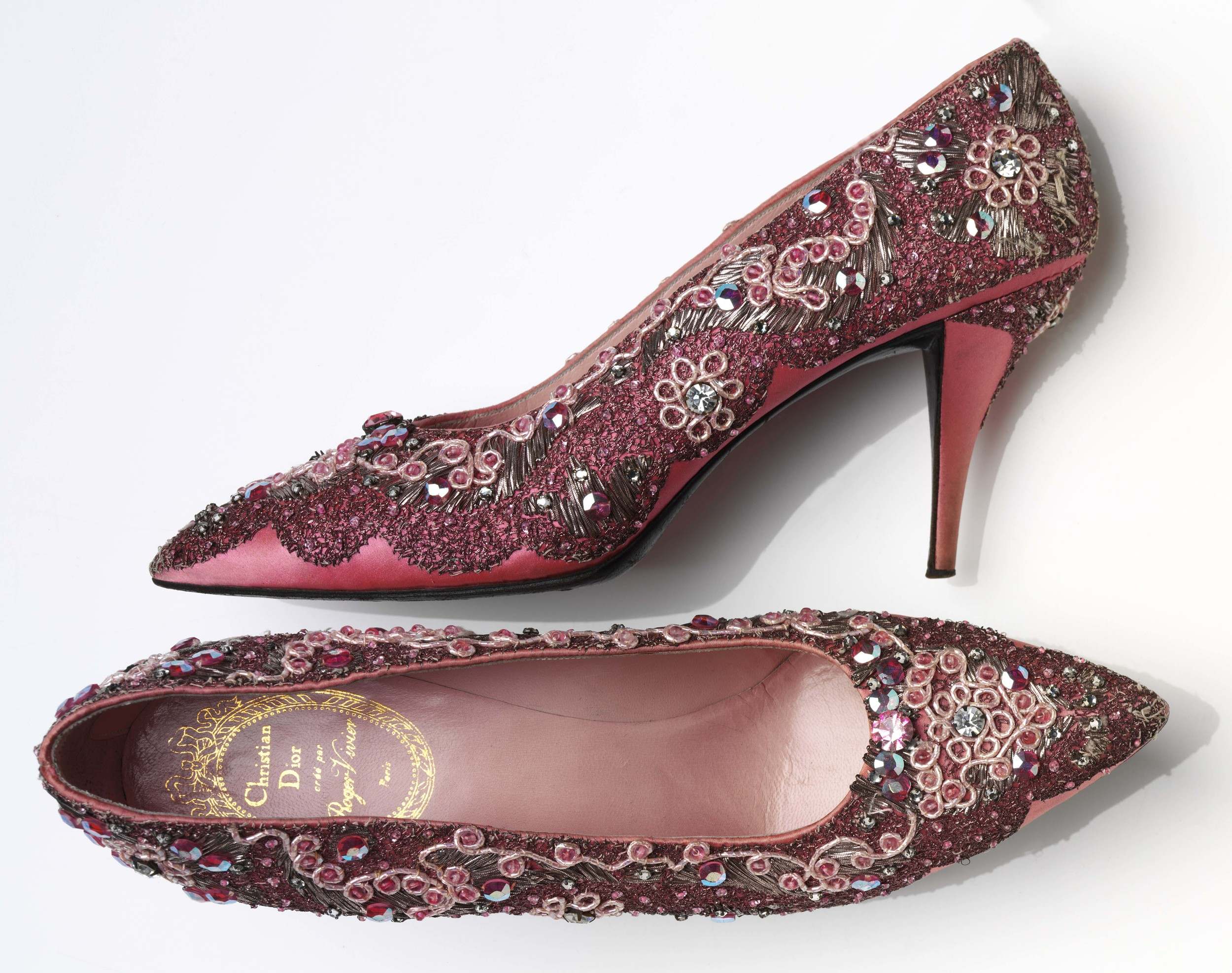 Evening shoe, beaded silk and leather, France.Roger Vivier for Christian Dior,1958-60
