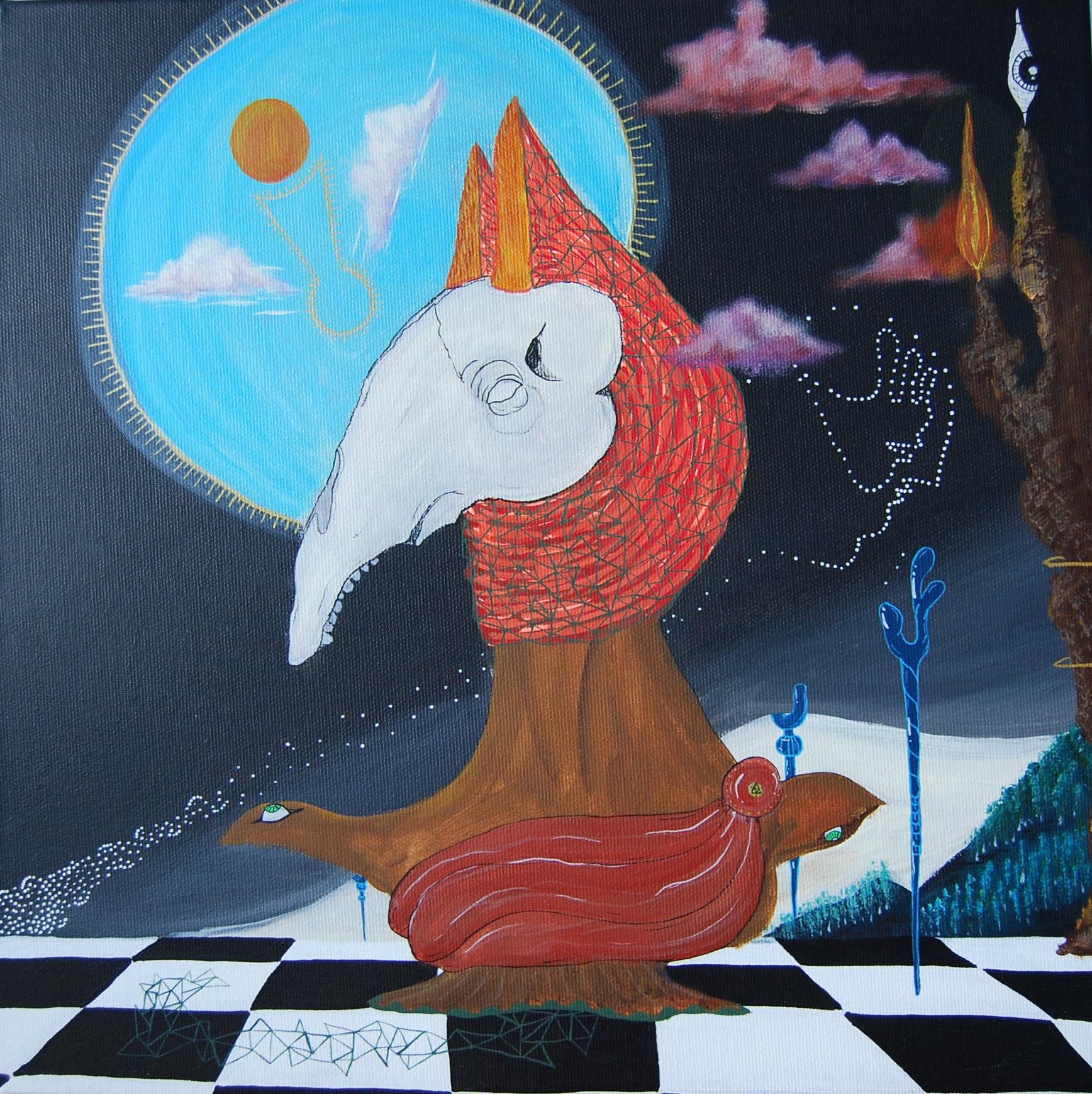 El Cavallo  , Acrylics on a 40x40cm Canvas,2015