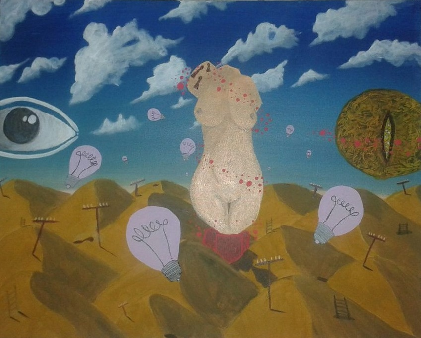 Childhood Dreams of Sand Dunes, A  crylics on a 40x50 cm Canvas,2014