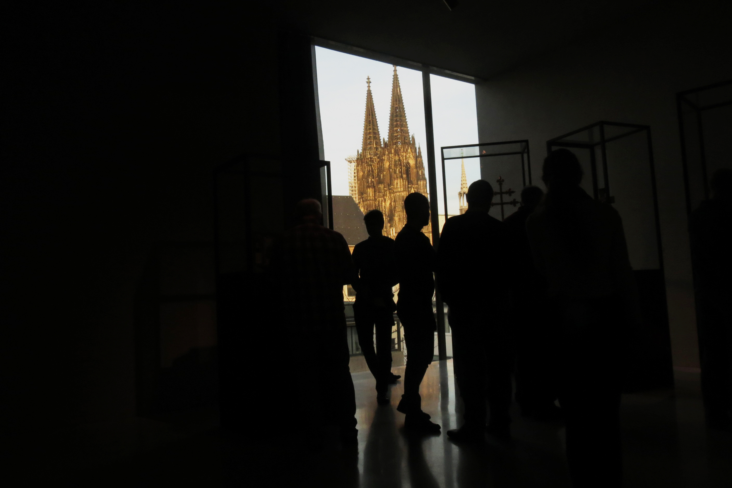 The Cologne Cathedral can be seen from the art museum entrance
