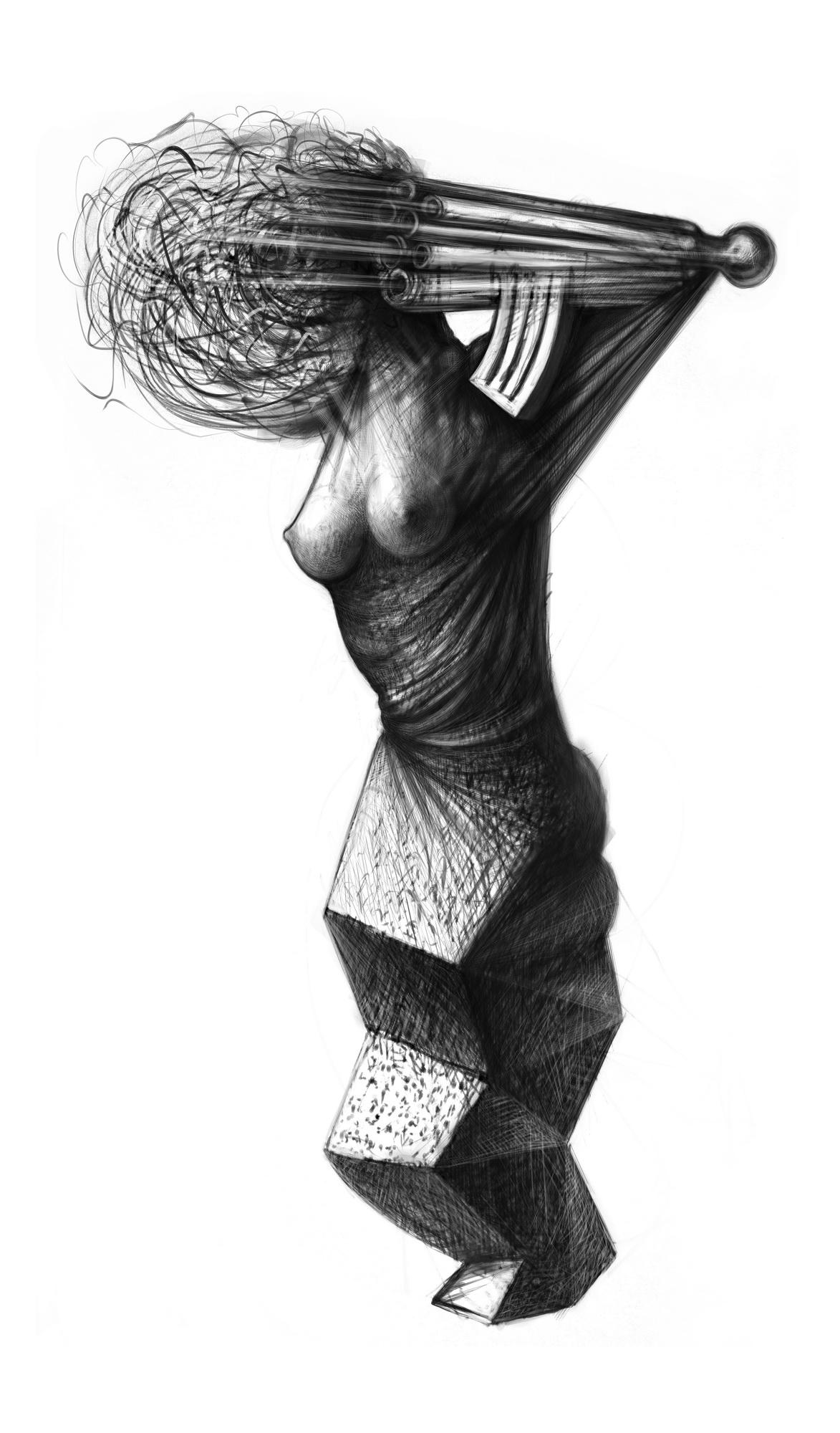 Cubist woman with calashnikov