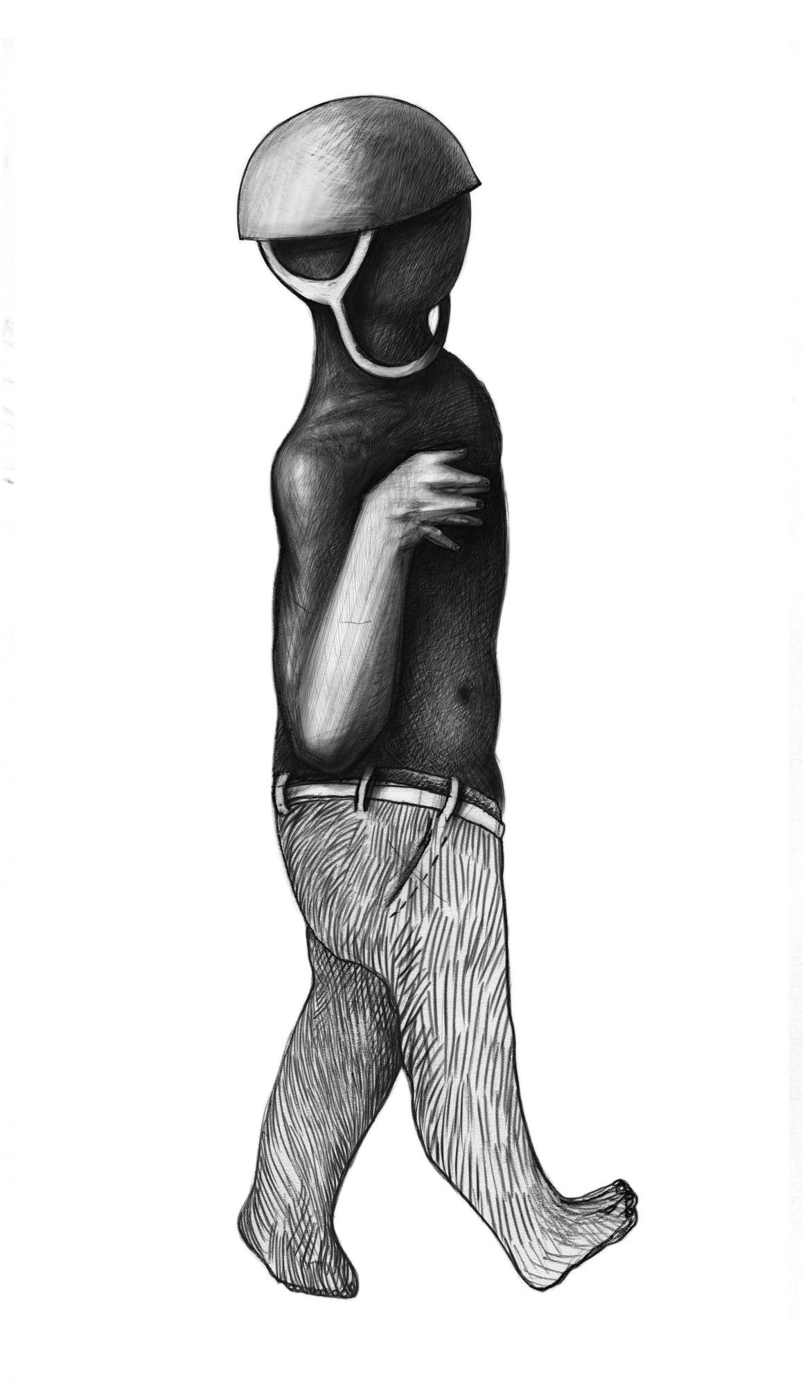 Figure with low waist pants