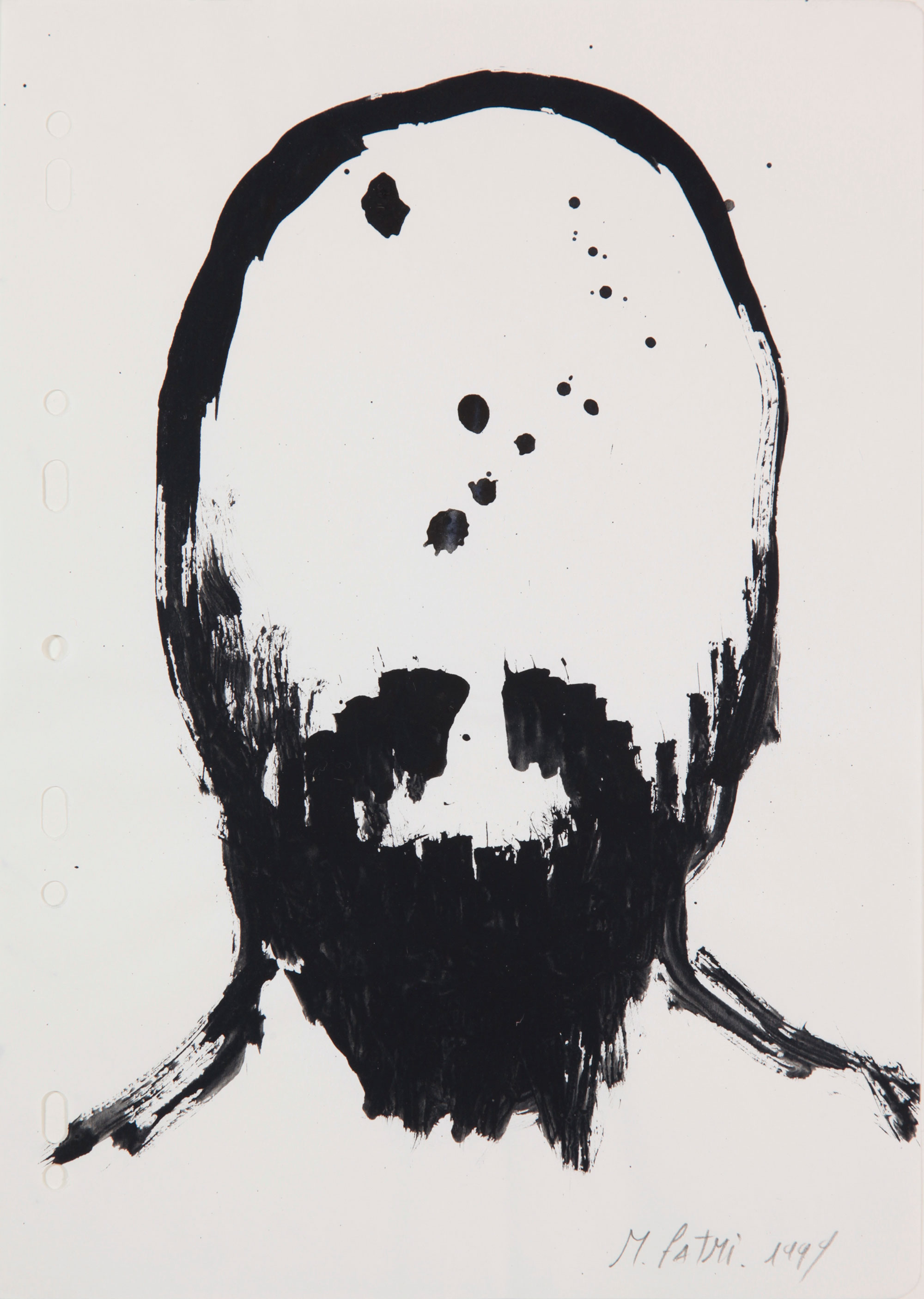 Face ,1999, serie of 13 drawings, ink and acrylic on paper, 29,7 x 21 cm.Courtesy of the artist. Private collection.  Photo credit :  mounir fatmi
